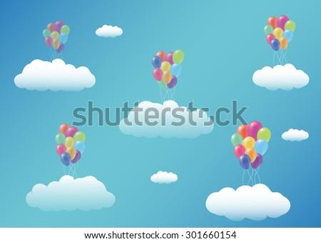 Floating Balloon cloud - stock vector