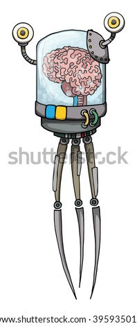 Floating, cartoon robot character with Human brain inside a jar, isolated on white, vector illustration - stock vector