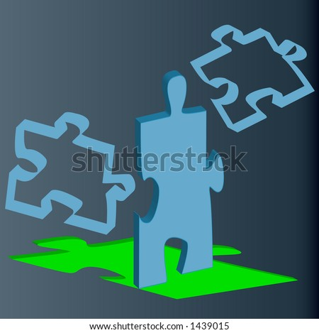 floating 3d puzzle pieces falling into place series - stock vector