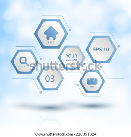 Floating Hexagons With Clouds In The Background - stock vector