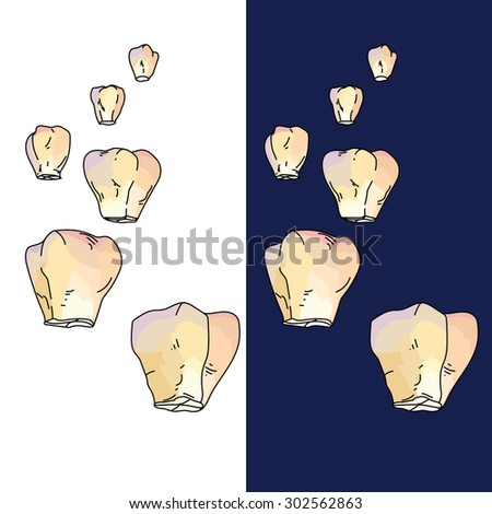 Floating lanterns in night sky or on white background. Decorative elements for design,