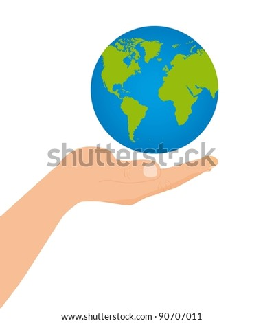 floating planet over hand over white background. vector