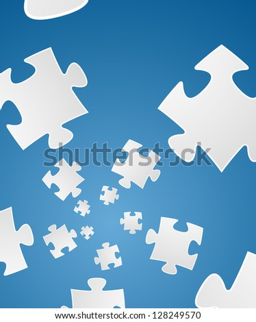 Floating puzzle piece on the blue gradient background / puzzle storm