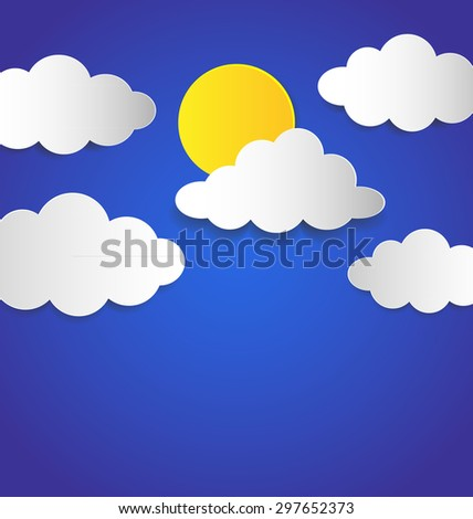 Floating white paper clouds and moon on blue background, Vector illustration.