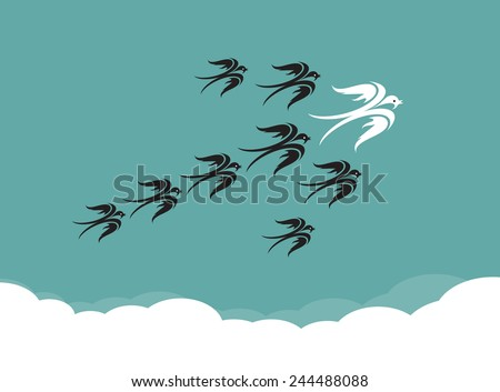 Flock of birds(swallow) flying in the sky, Leadership concept - stock vector