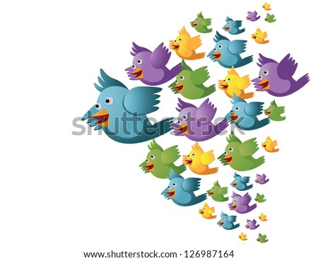 Flock of Cartoon Birds Isolated on White. EPS 8 vector, no open shapes or paths, grouped for easy editing. - stock vector