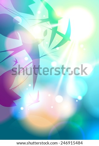 Flock of swallows flying in the sky background with place for text, Eps10. - stock vector