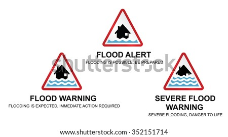 Flood alert flood warning and severe flood warning weather signs with sign descriptions isolated on white background  - stock vector