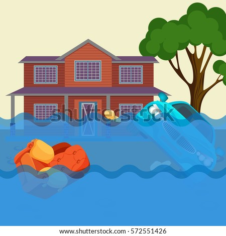 Flood Realistic Natural Disaster Vector Illustration Stock ...