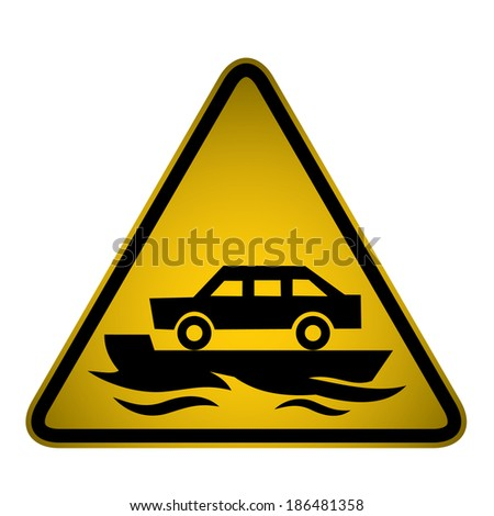 Flooded Road Sign- Vector - stock vector