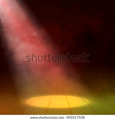 Floodlight spotlight illuminates wooden scene. Vector illustration - stock vector
