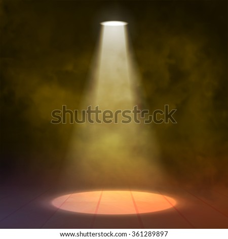 Floodlight Spotlight illuminates wooden scene. Yellow orange. Vector illustartion.
