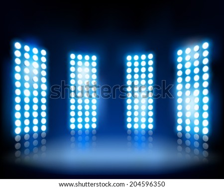Floodlights on the stage. Vector illustration. - stock vector