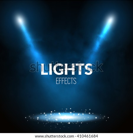 Floodlights spotlights illuminates scene with glowing particles. Show theater, dance, presentation illustration. - stock vector