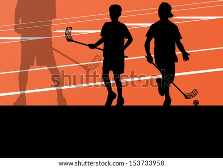 Floor ball players active children sport silhouettes background illustration vector