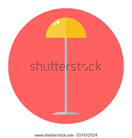 Floor lamp. Isolated floor lamp icon on white background. Flat style vector illustration. - stock vector
