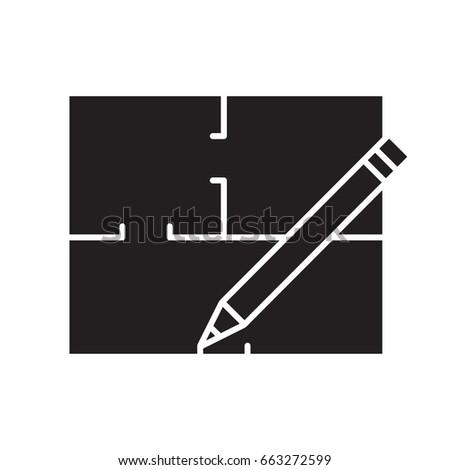 Floor plan flat blueprint pencil glyph stock vector 663272599 floor plan flat blueprint with pencil glyph icon apartment layout silhouette symbol house malvernweather Images