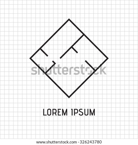 Floor plan, interior of the apartment, logo design. Black and white vector element. - stock vector
