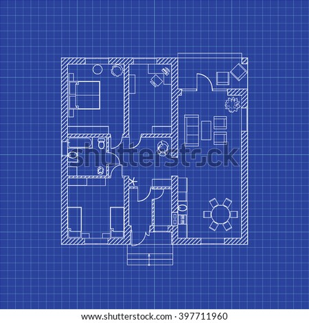 Floor plan modern apartment on graph stock vector 397711960 floor plan of a modern apartment on graph paper vector blueprint architectural background malvernweather Images