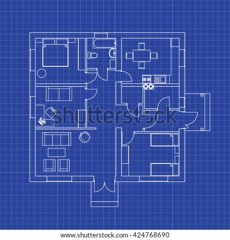Cafe floor plan without furniture your stock vector 733158799 floor plan of a modern apartment on graph paper vector blueprint architectural background malvernweather Gallery