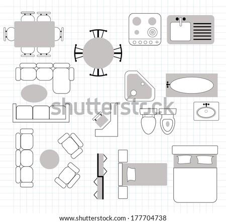 floor plan with furniture - stock vector