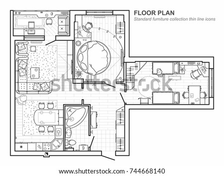 Floor plan furniture top view architectural stock vector 744668140 floor plan with furniture in top view architectural set of furniture thin line icons malvernweather