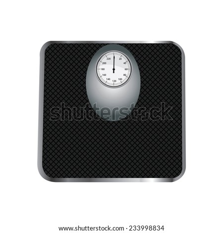 Floor scales, floor scales isolated, floor scales vector, black floor scales - stock vector