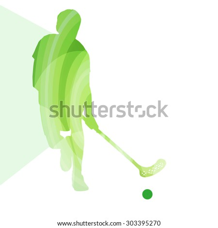 Floorball player man silhouette hockey with stick and ball illustration vector background colorful concept made of transparent curved shapes - stock vector