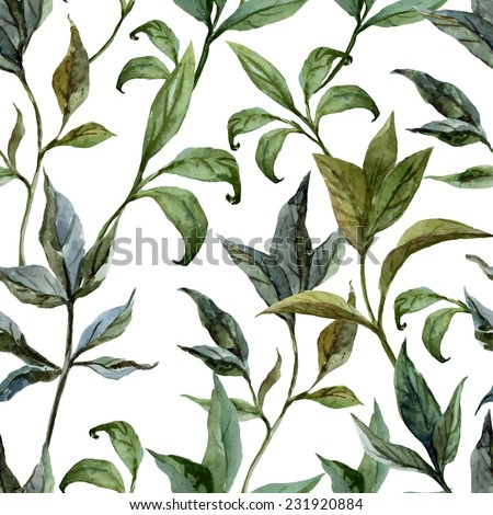 flora, watercolor, pattern - stock vector