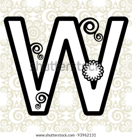 floral ABC, ornamental letter W - stock vector