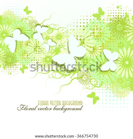 floral abstract background with butterflies. Vector - stock vector