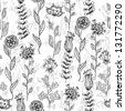 Floral abstract doodle seamless pattern - stock vector