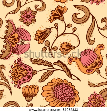 Floral abstract seamless pattern - stock vector