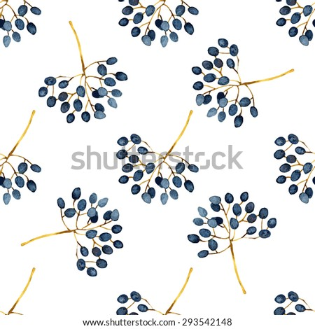 Floral abstract seamless pattern with twigs. Vector illustration - stock vector