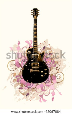 Floral abstract with guitar on a white background - stock vector