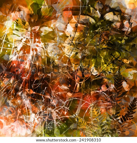Floral abstraction in brown tones - stock vector