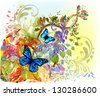 Floral abstraction with butterflies - stock vector