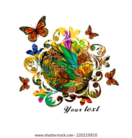 Floral abstraction with butterflies. Greeting Card. Vector - stock vector