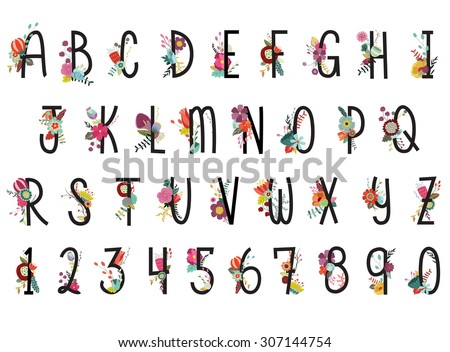 Floral Alphabet and Numbers Vector Set - stock vector