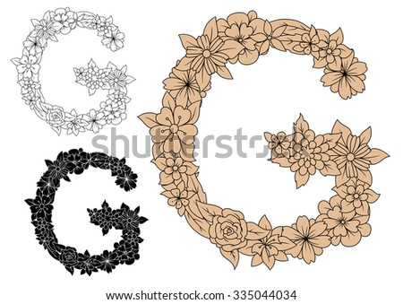 Floral alphabet capital letter G with blooming roses, daisies and field flowers. For monogram design in colorless, black and brown color variations - stock vector