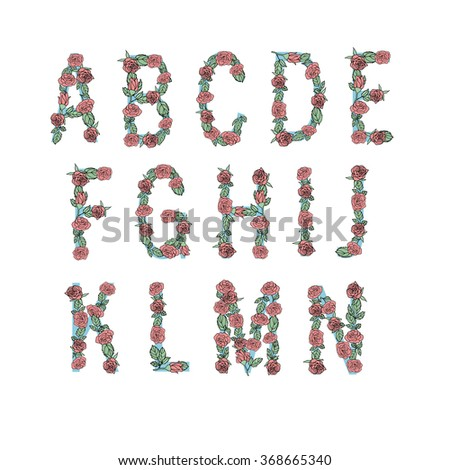 Floral alphabet isolated, font made with leaves and roses, part 1 ( a b c d e f g h i j k l m n ) - stock vector
