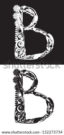 Floral Alphabet letter B black on the white background and white on the black background - stock vector