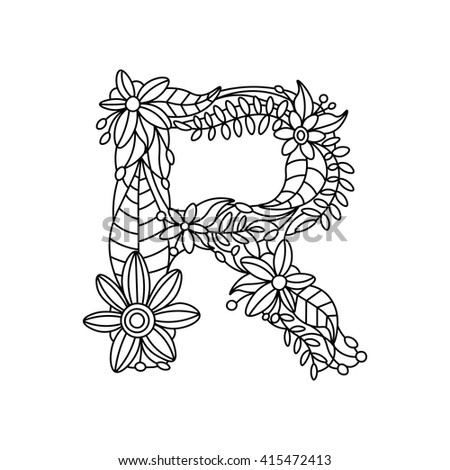 Floral Letters Coloring : Floral alphabet letters stock images royalty free