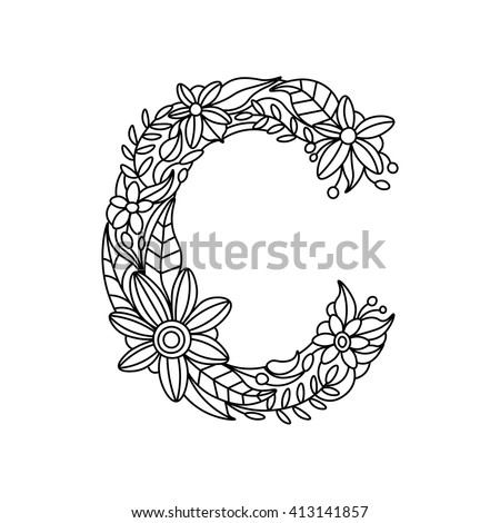 Floral Letters Coloring : Free adult coloring pages to print sheets