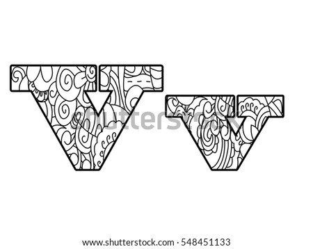 Floral Letters Coloring : Printable floral alphabet coloring page letter y instant