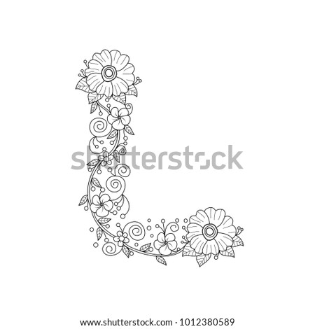 Floral Alphabet Letter L Coloring Book For Adults Vector IllustrationHand DrawnDoodle