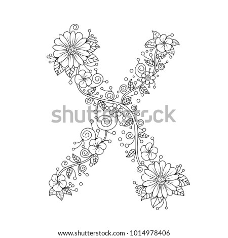 Floral Alphabet Letter X Coloring Book For Adults Vector IllustrationHand DrawnDoodle