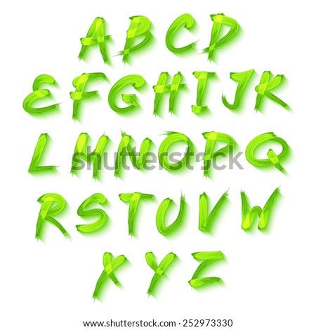 Floral alphabet on green background, vector  format art - stock vector