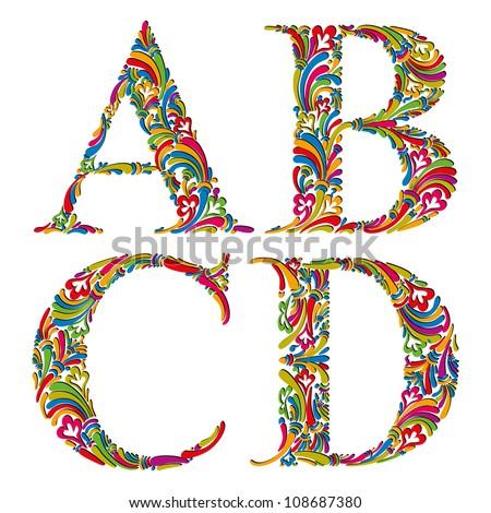 Floral alphabet, vintage letters a b c d. - stock vector