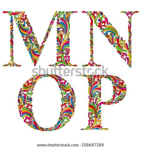 Floral alphabet, vintage letters m n o p. - stock vector
